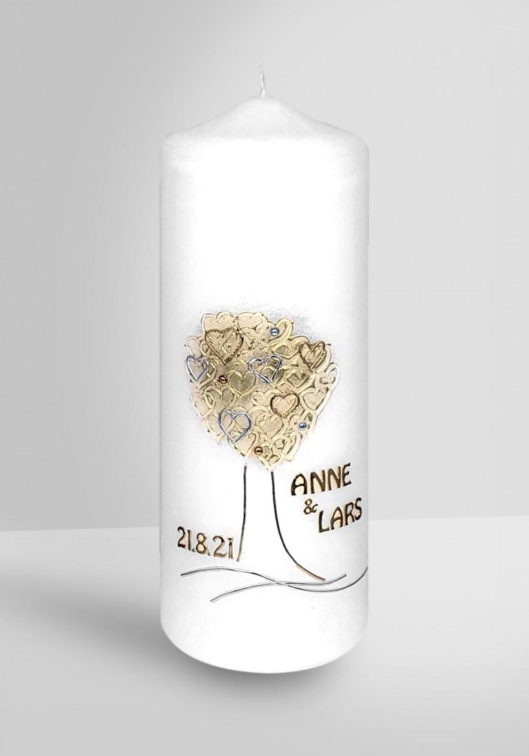 Personalisierte Hochzeitskerze mit Lebensbaum
